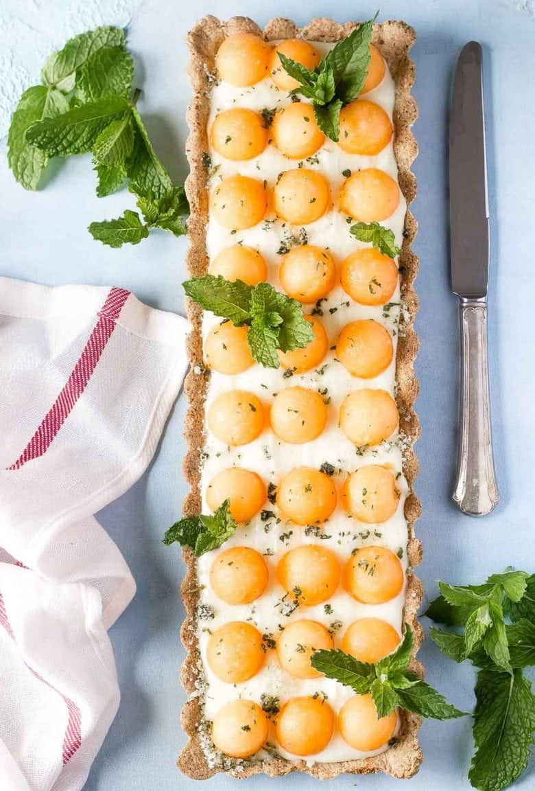White Chocolate Cantaloupe Mint Tart with @pamelasproducts {gluten free, dairy-free option}