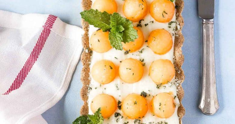 White Chocolate Cantaloupe Mint Tart