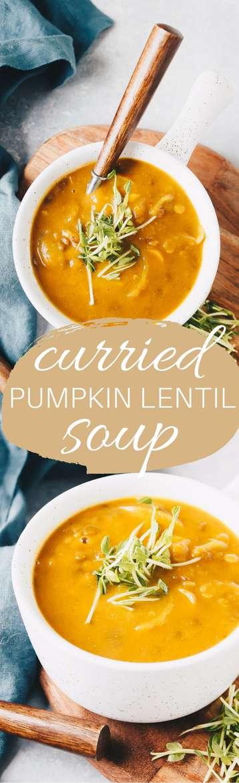 Curried Pumpkin Lentil Soup - vegan and gluten free!