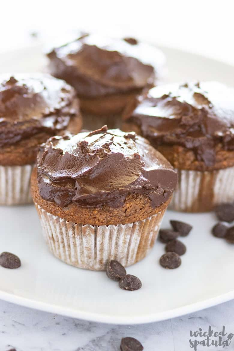 gluten-free pumpkin muffins with chocolate ganache
