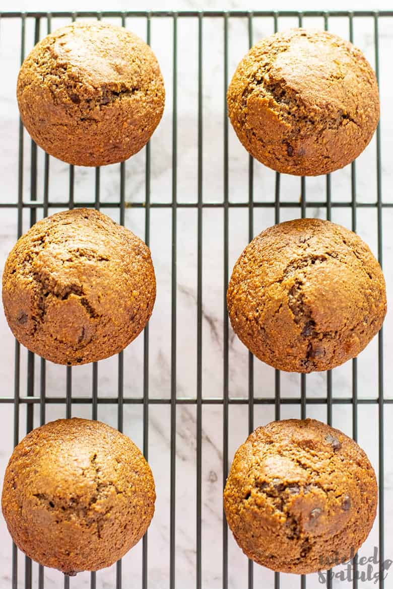 baked paleo pumpkin muffins on cooling rack