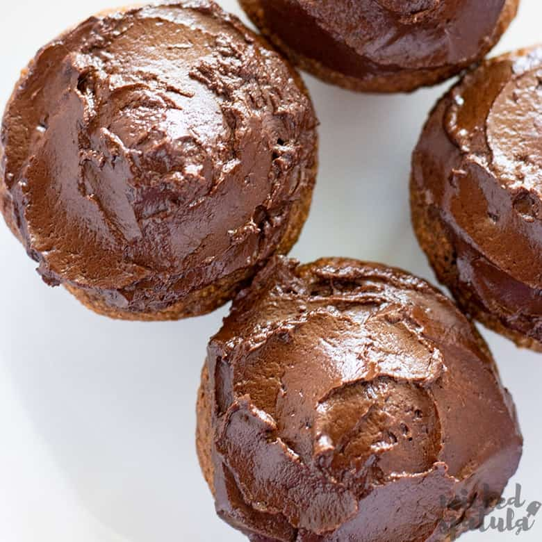 almond flour pumpkin muffins with chocolate ganache