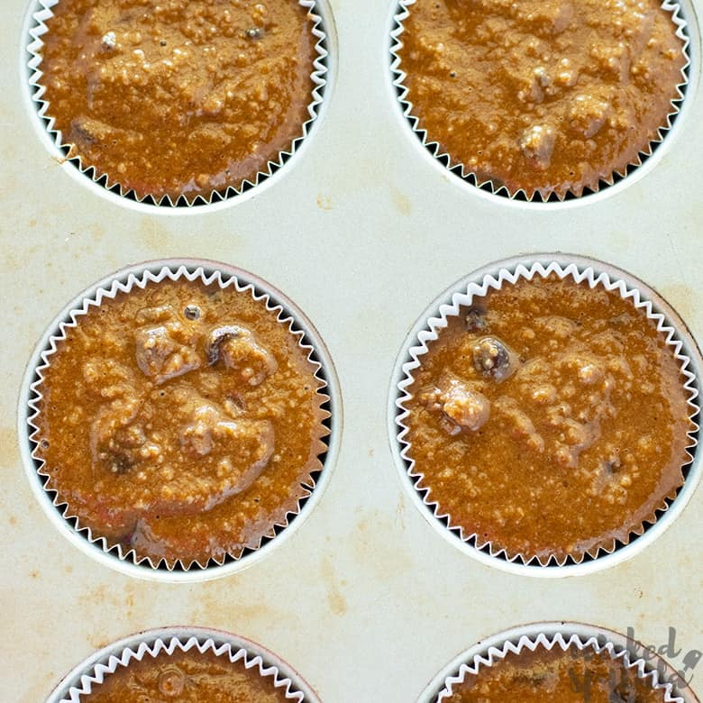 pumpkin chocolate chip muffins ready for the oven