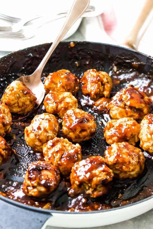 BBQ Chicken Meatballs in Pan