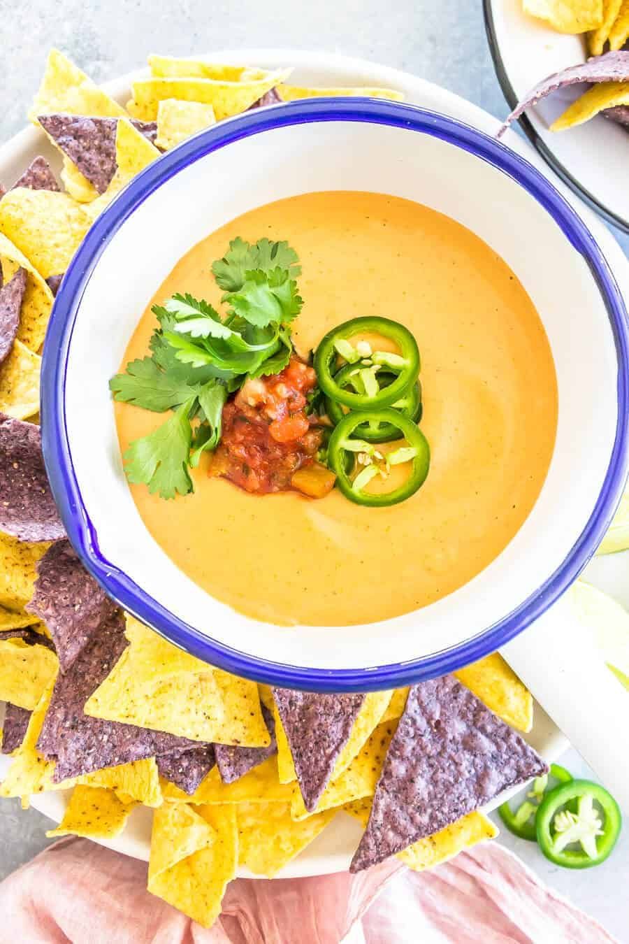 The Best Vegan Queso Recipe - Bowl with queso dip