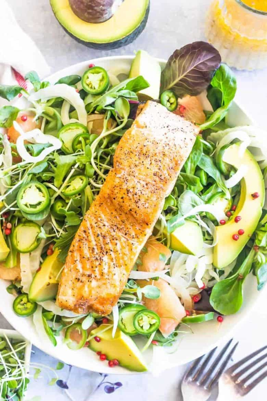 avocado salmon salad in a bowl