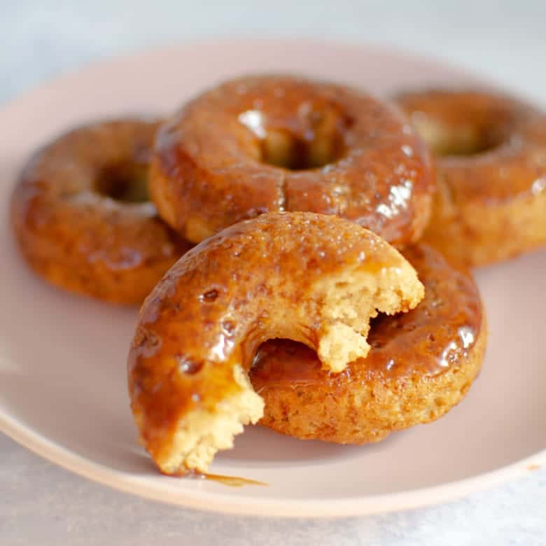 Paleo Maple Glazed Donut Recipe - Donuts On Plate Front View