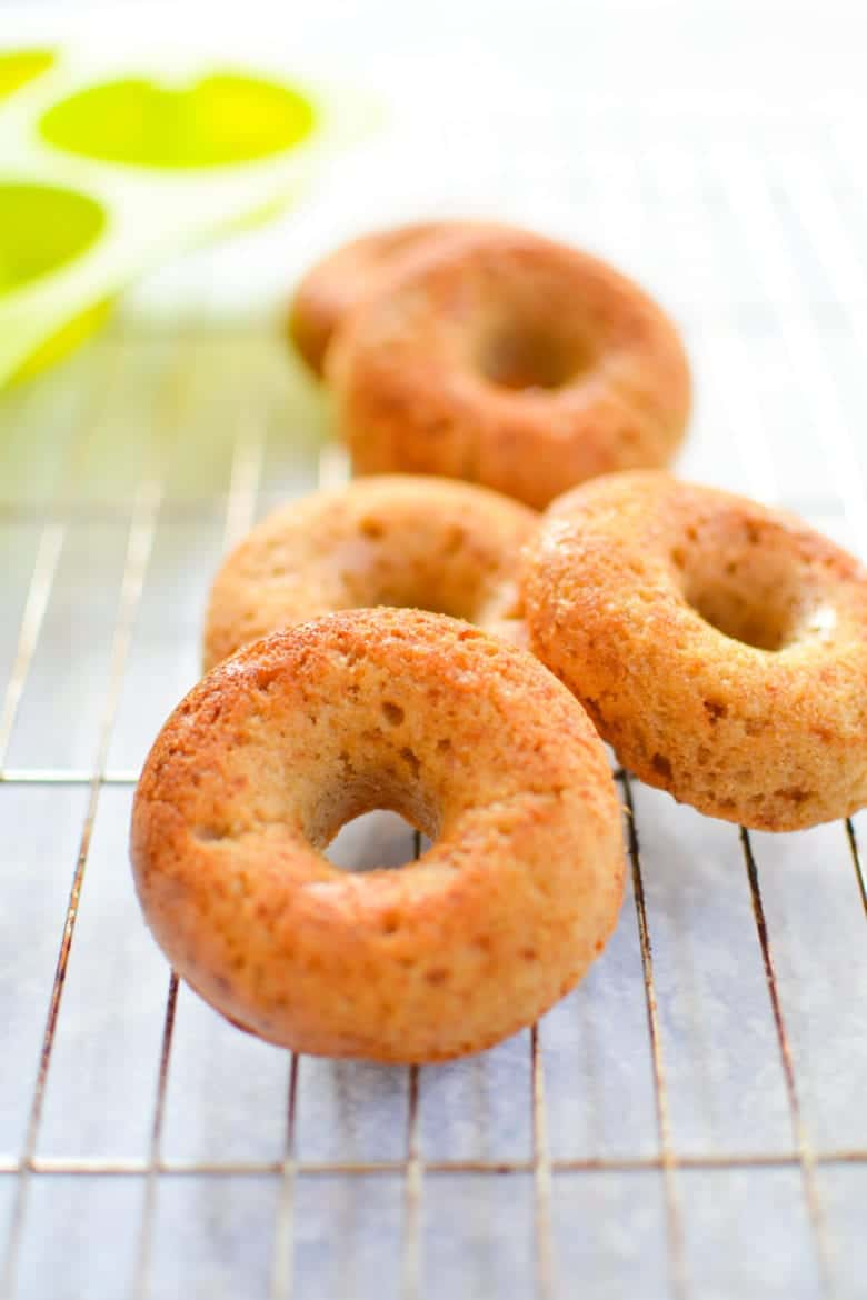 Maple Glazed Paleo Donut Recipe - Front View of Donuts Cooling on Cake Rack
