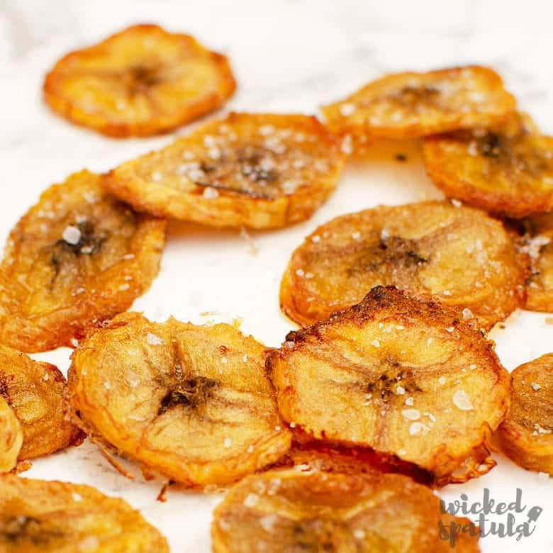Close-up of plantain chips
