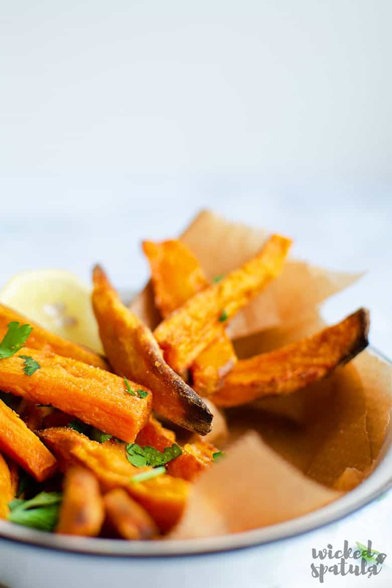 Closeup of crispy baked sweet potato fries