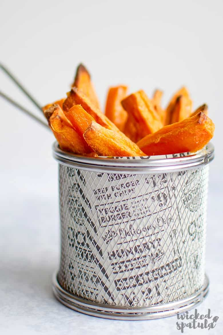 Crispy oven baked sweet potato fries in a cup