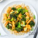 plate of Crockpot sesame chicken with broccoli