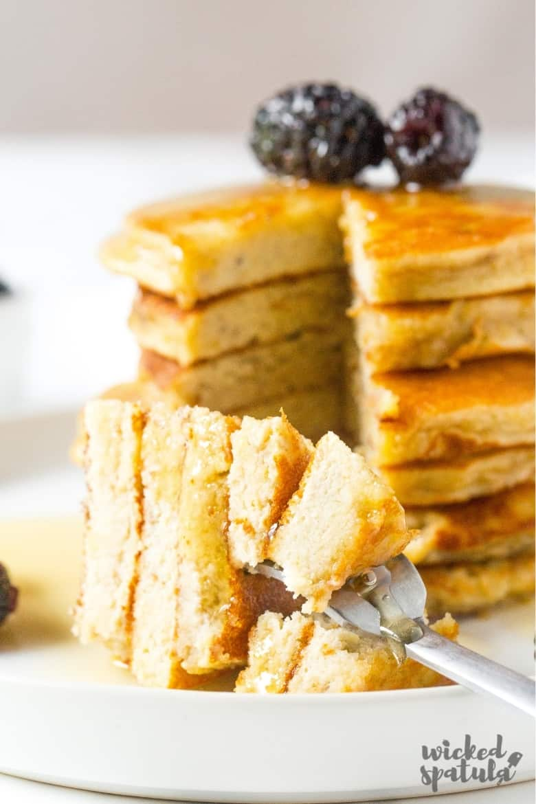 stack of banana pancakes with almond flour