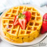 paleo sweet potato waffles with strawberries