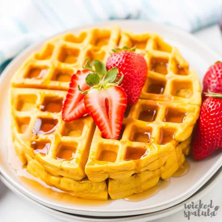 paleo sweet potato waffles with strawberries