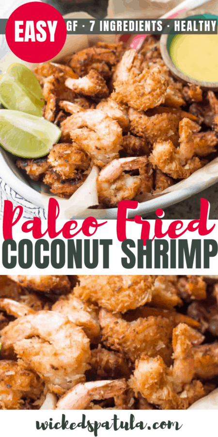 Healthy Paleo Fried Coconut Shrimp Recipe - Pinterest image