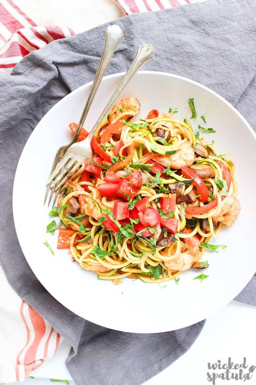 bowl of shrimp and zucchini recipes