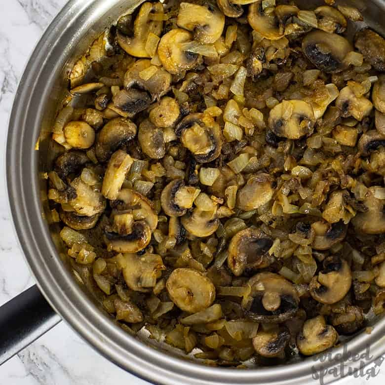 cooked mushrooms in pan