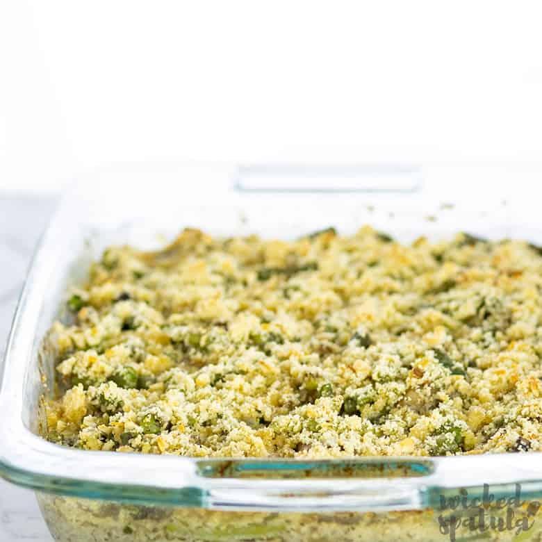gluten-free dairy-free green bean casserole in baking dish