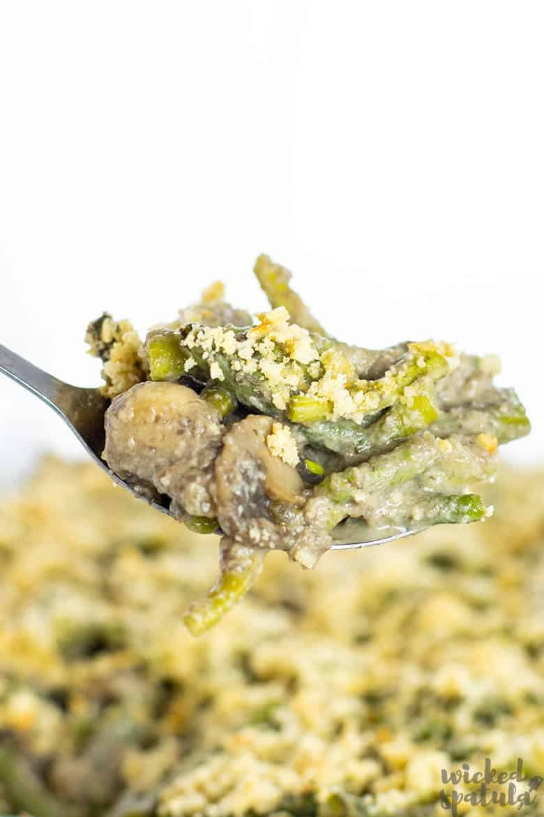 fork with dairy-free green bean casserole