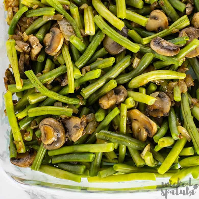 gluten-free green bean casserole in baking dish