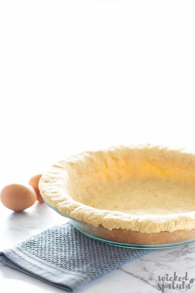 almond flour pie crust in pan