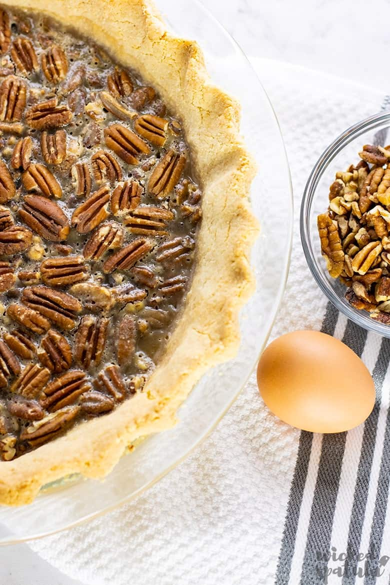baked healthy pecan pie with an egg