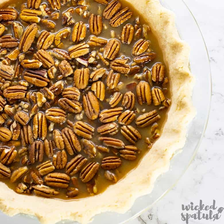 healthy pecan pie with pecan halves on top