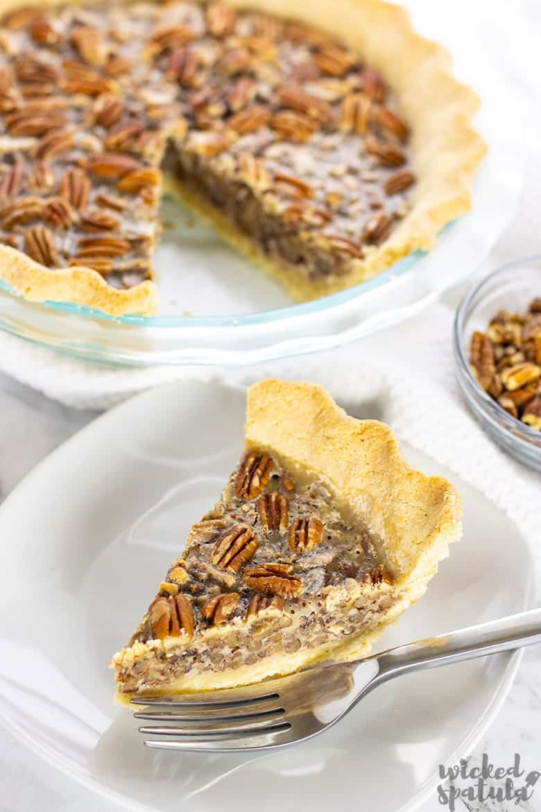 slice of paleo pecan pie on a plate