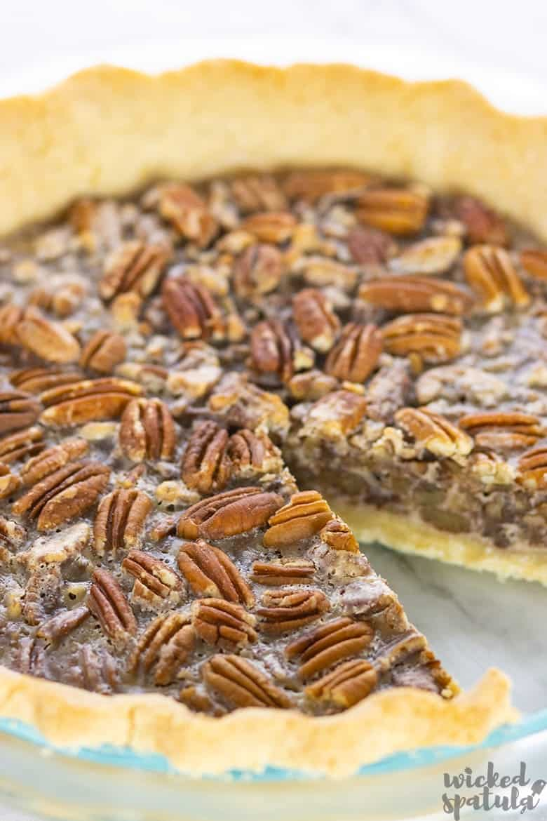 dairy-free pecan pie recipe with one missing piece
