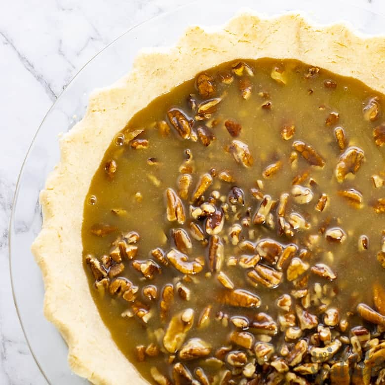 gluten-free pecan pie with caramel filling