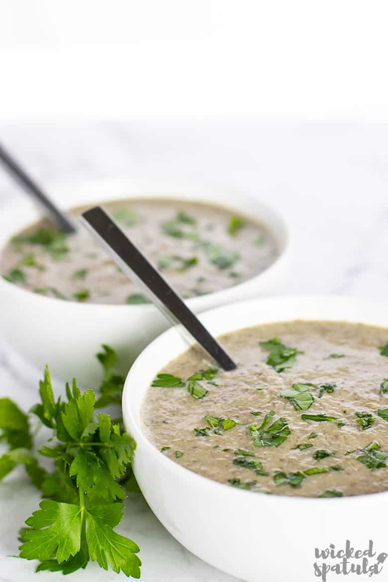 two bowls of dairy-free mushroom soup