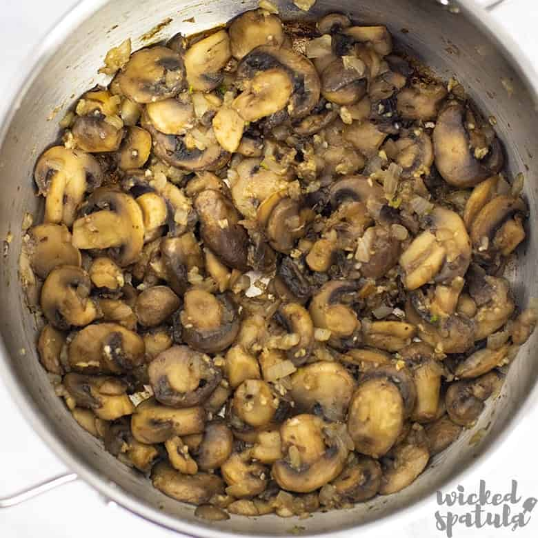 mushrooms in pan for paleo mushroom soup