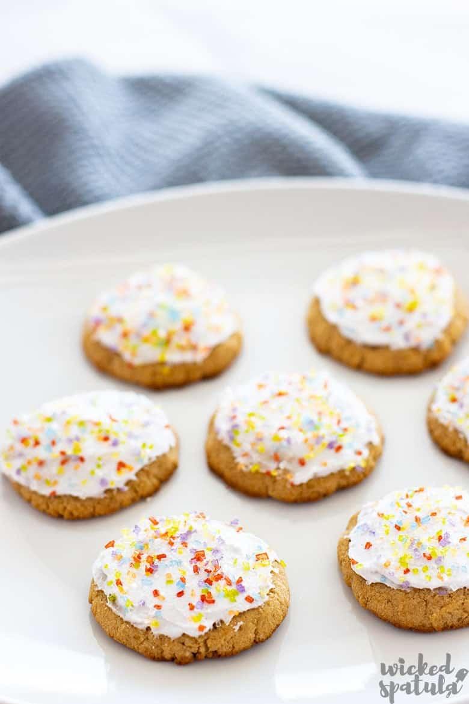 plate of paleo sugar cookies with sprinkles