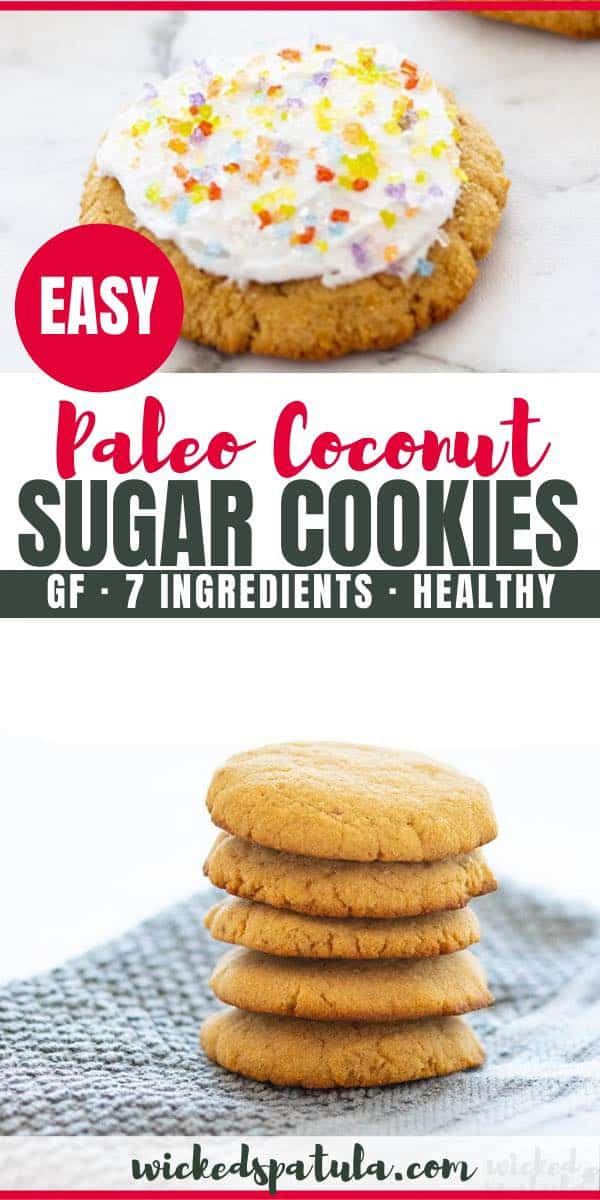 This paleo sugar cookies recipe with coconut flour and coconut oil is ready in less than 20 minutes, with just 8 ingredients! Coconut sugar cookies are chewy, soft, and easy to make.