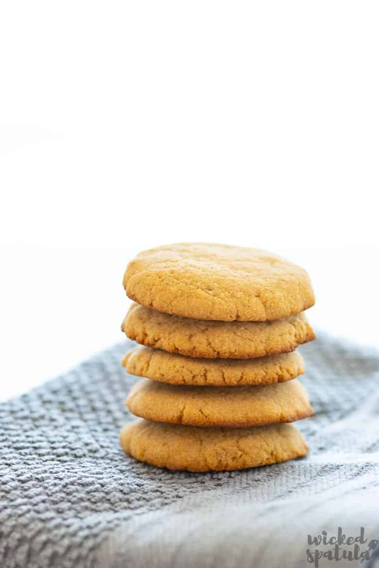 coconut oil sugar cookies in a stack