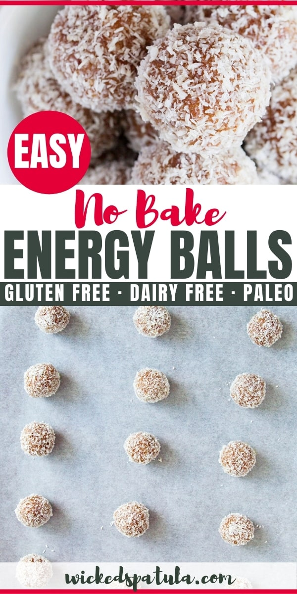 paleo no bake energy balls - pinterest images