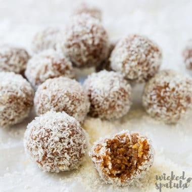 no bake energy balls scattered