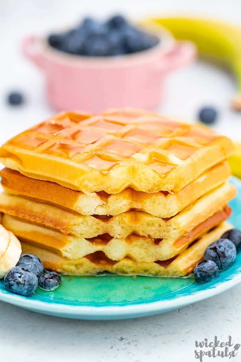 paleo waffles with blueberries