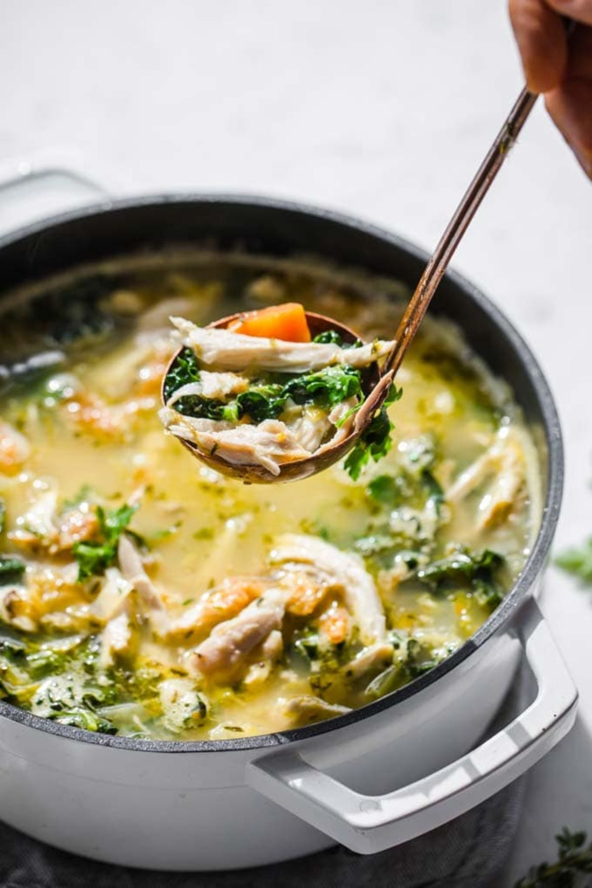 a cast iron casserole dish filled with roast chiken soup. A ladel is pulling a spoonful of soup out of the bowl
