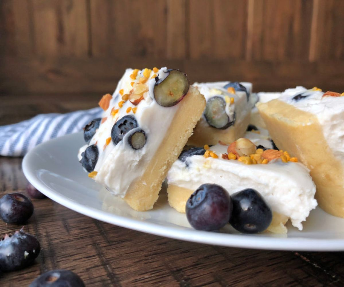 A white plate of blueberry cheesecake bars. fresh blueberries are scattered around