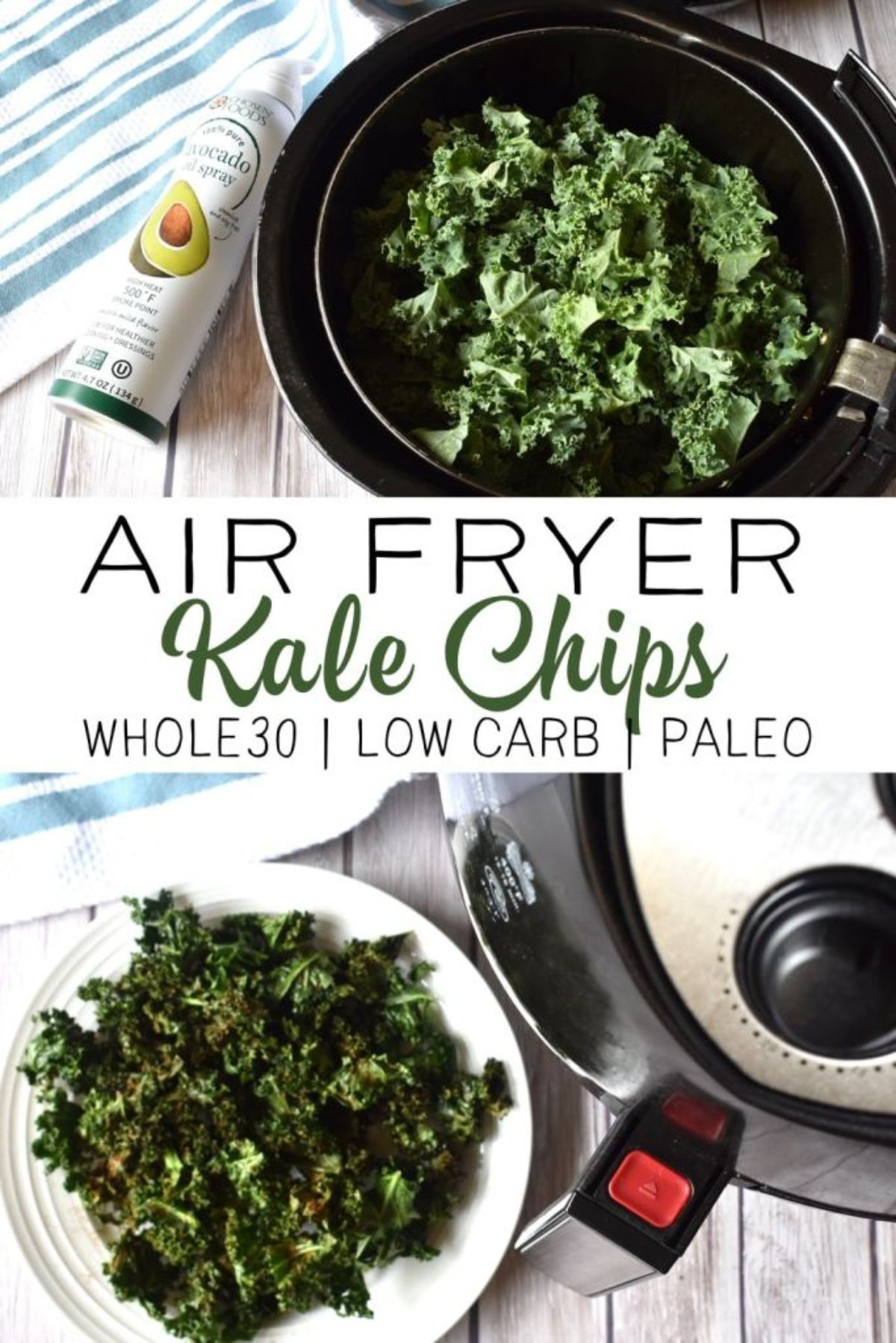 On a table is an air fryer with kale leaves ready to go in. Avocado spray is next to the fryer and there is a plate of air fried kale leaves to the bottom left