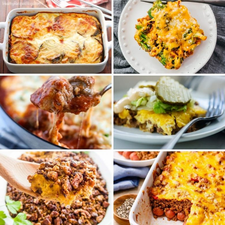 Collage photo featuring various keto casserole recipe photos from the content.