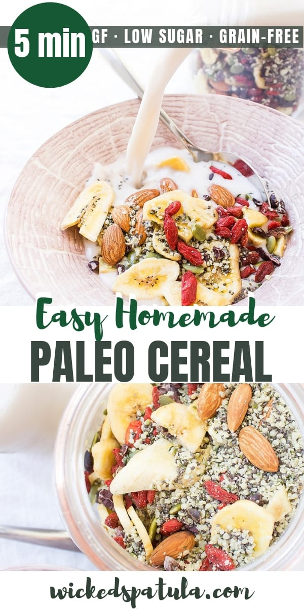 5 Minute Easy Grain-Free Paleo Cereal - Pinterest image