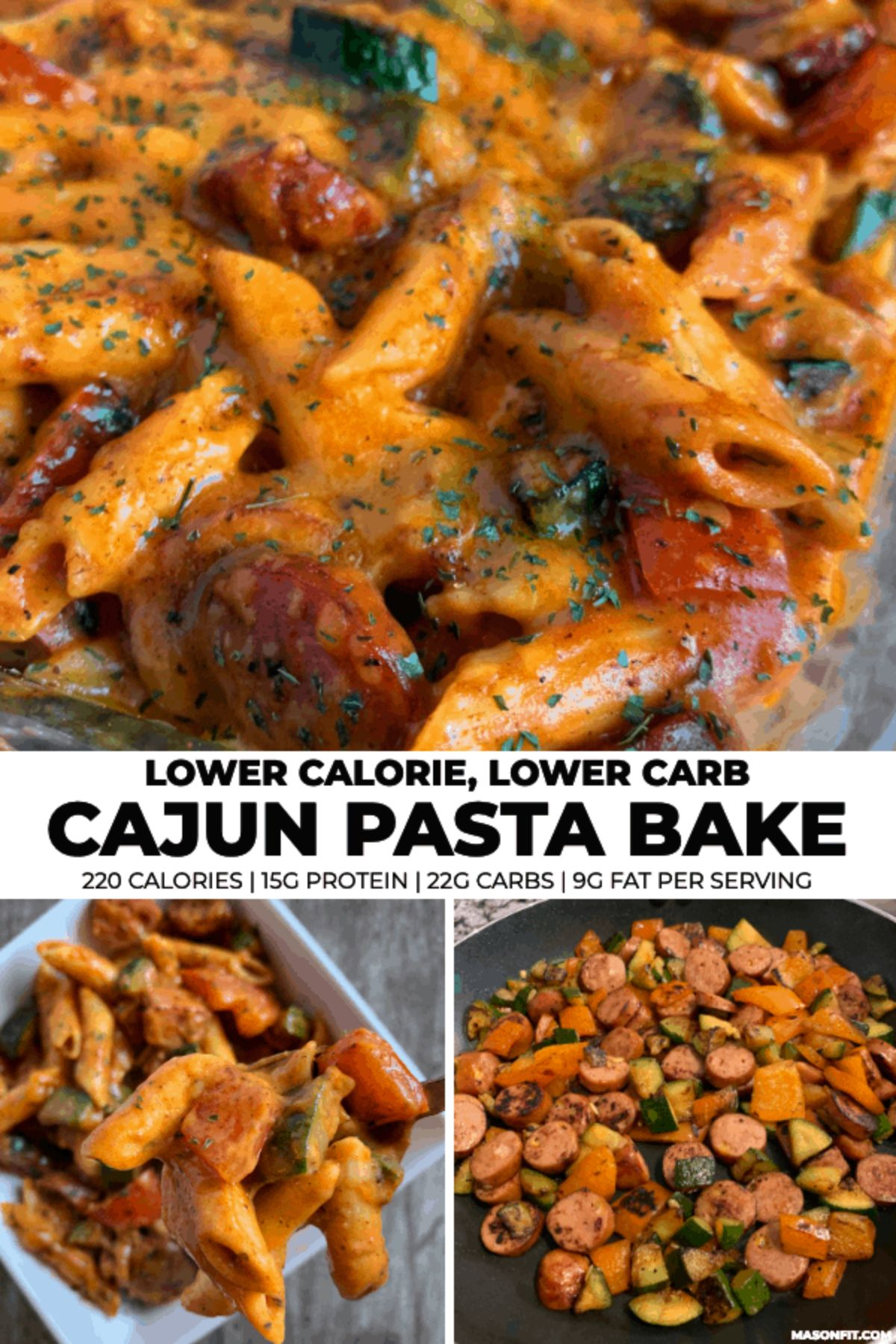"The text reads ""Lower calorie, Lower carb Cajun pasta bake. 220 calories, 15g protein 22g carbs 9g fat per serving"" The phots are of penne covered in a creamy tomato sauce mixed with sliced sausage and herbs"