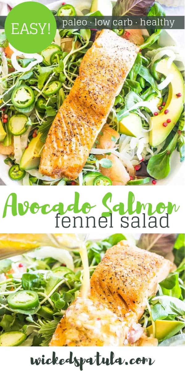 Avocado Salmon Fennel Salad - Pinterest image