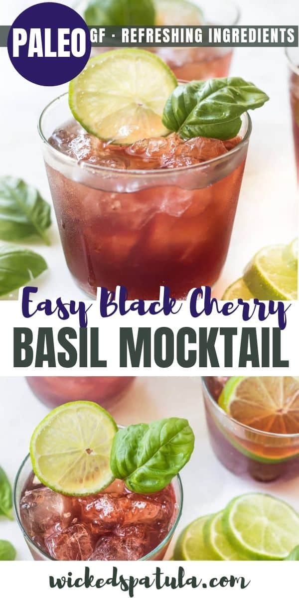 Black Cherry Basil Mocktail - Pinterest image