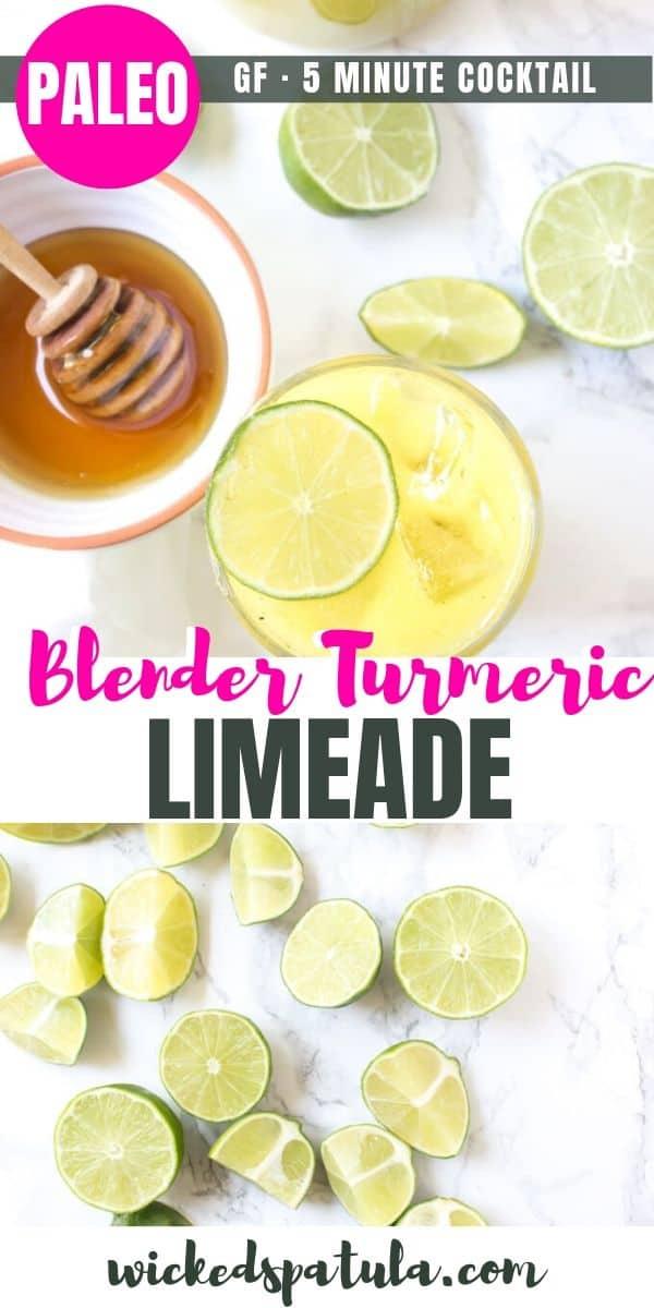 Blender Turmeric Limeade - Pinterest image
