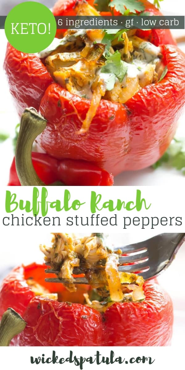 Buffalo Ranch Chicken Stuffed Peppers - Pinterest image