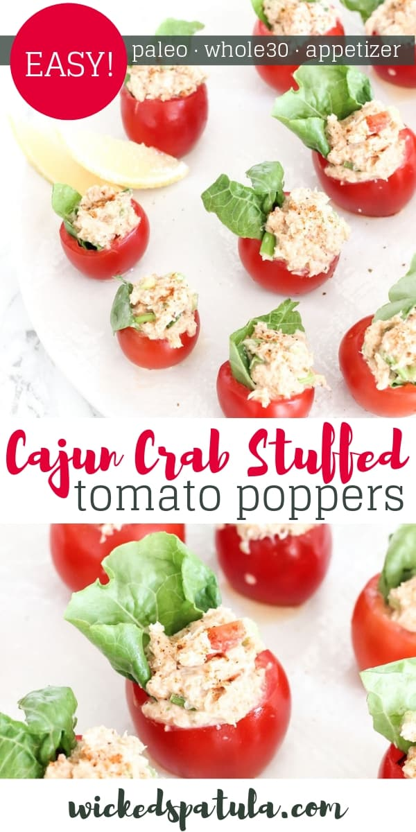Cajun Crab Stuffed Tomato Poppers - Pinterest image